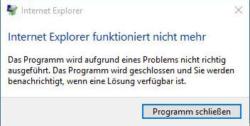 Internet Explorer funktioniert nicht mehr