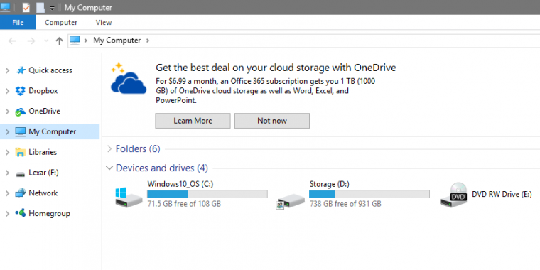 Windows 10 Explorer Werbung OneDrive